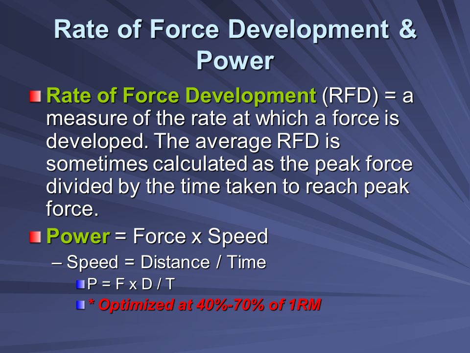Rate of Force Development & Power