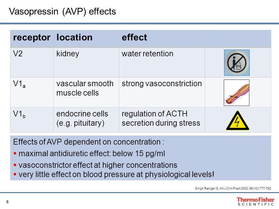 Vasopressin (AVP) effects receptor location effect