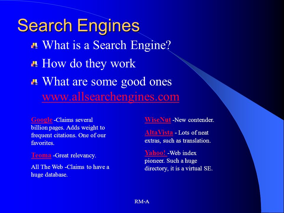 Search Engines What is a Search Engine How do they work