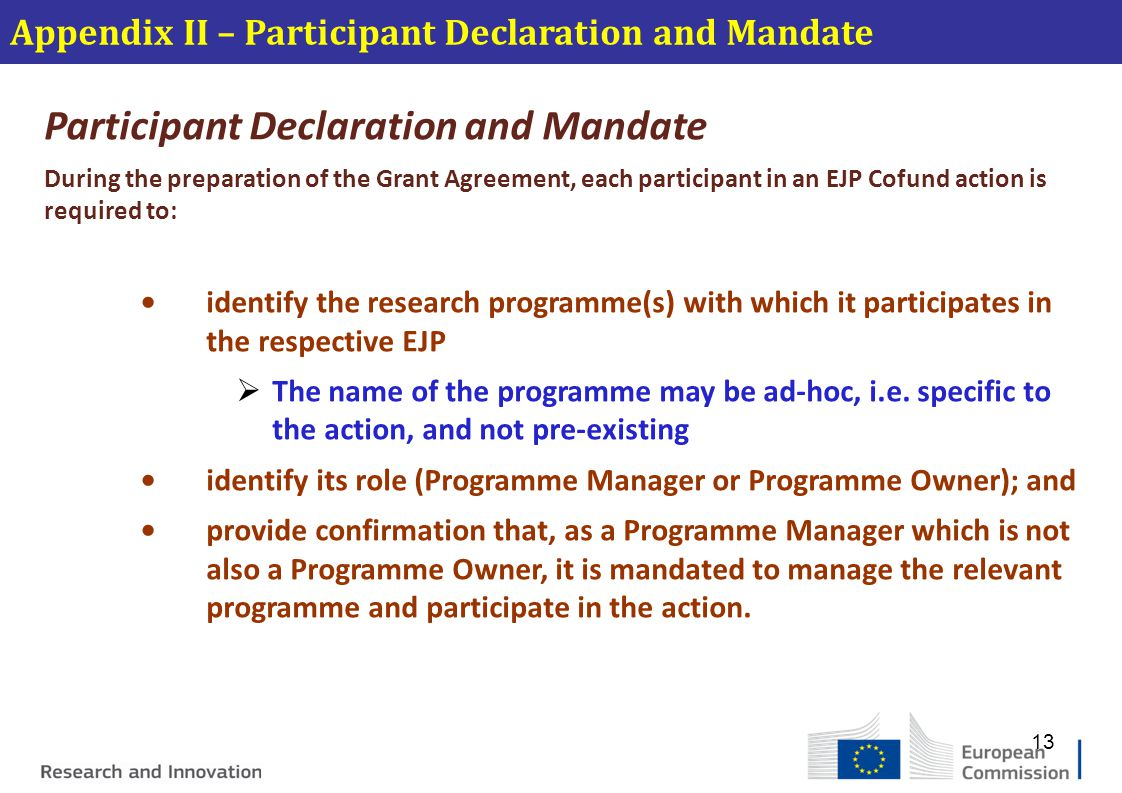 Participant Declaration and Mandate