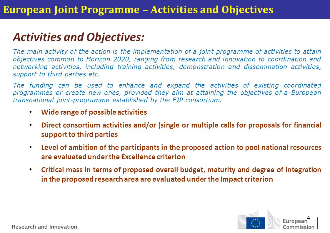 Activities and Objectives: