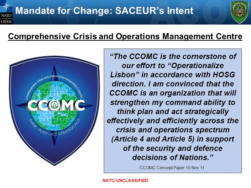 Mandate for Change: SACEUR's Intent
