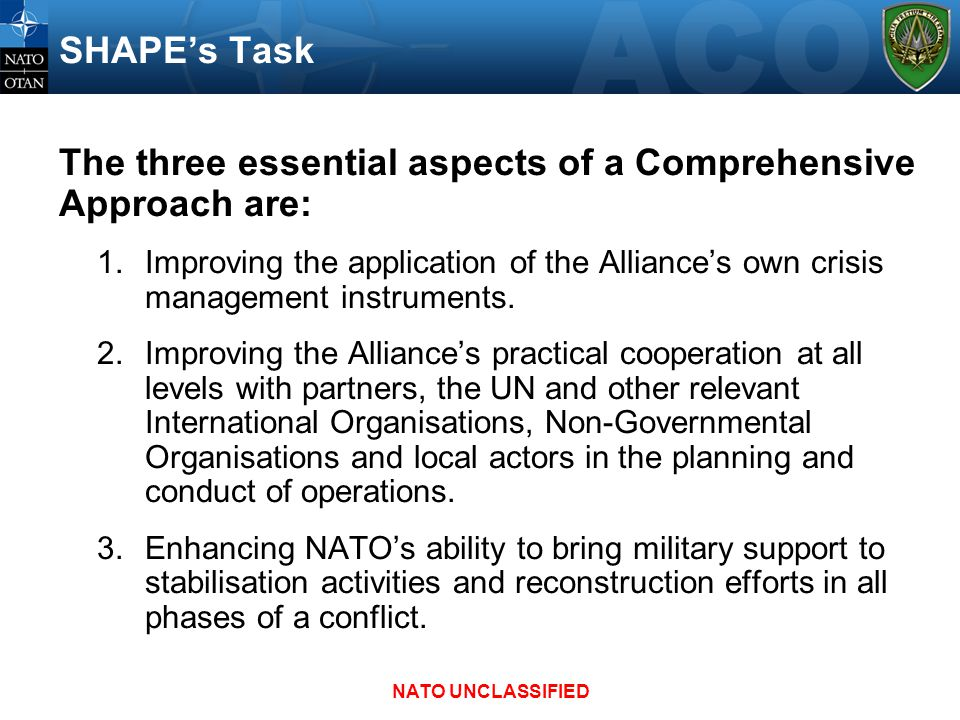 The three essential aspects of a Comprehensive Approach are: