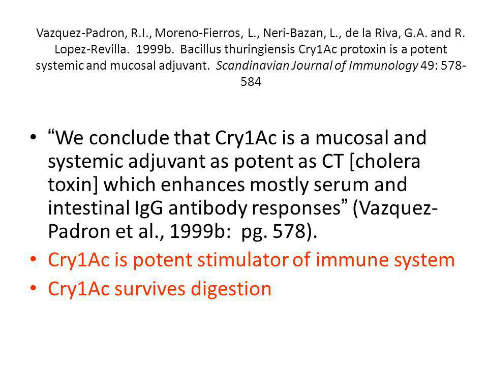 Cry1Ac is potent stimulator of immune system Cry1Ac survives digestion