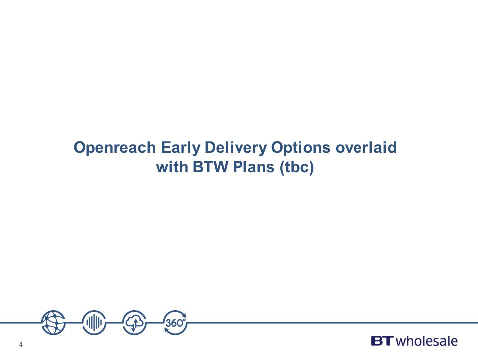 Openreach Early Delivery Options overlaid with BTW Plans (tbc)