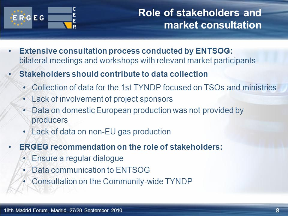 Role of stakeholders and market consultation