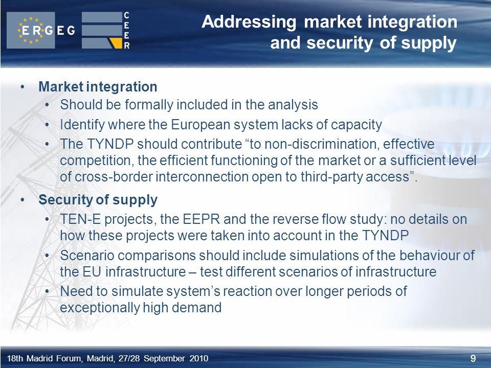 Addressing market integration and security of supply