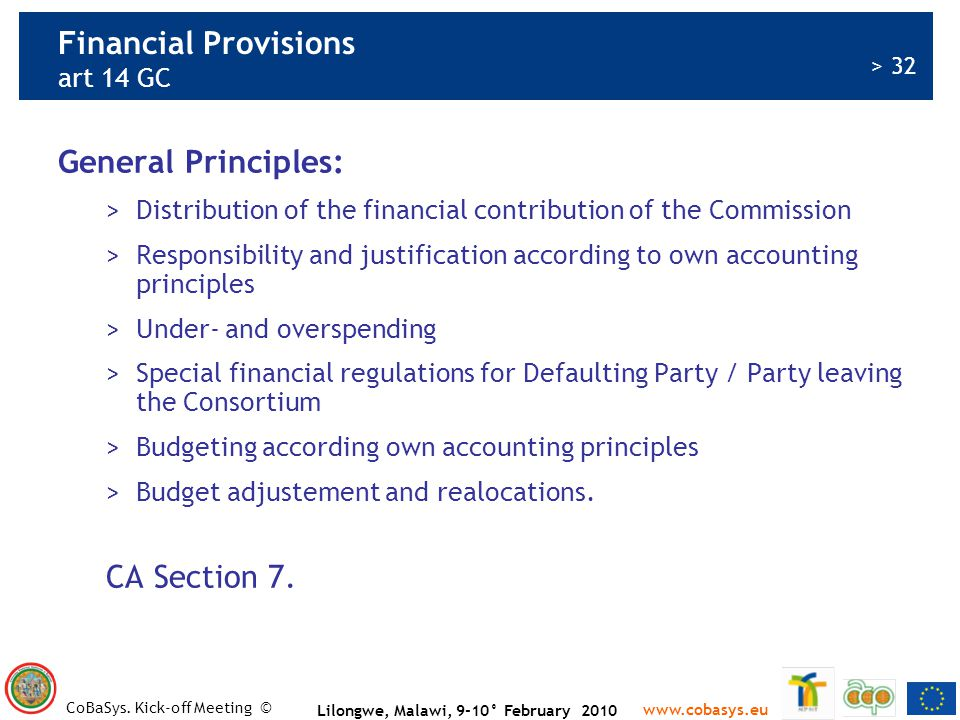 Financial Provisions art 14 GC
