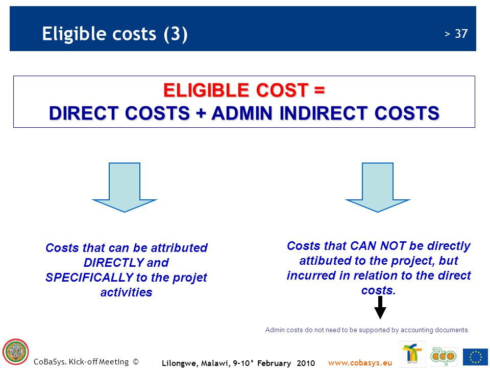 ELIGIBLE COST = DIRECT COSTS + ADMIN INDIRECT COSTS