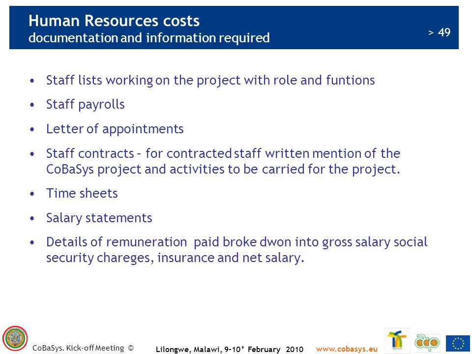 Human Resources costs documentation and information required