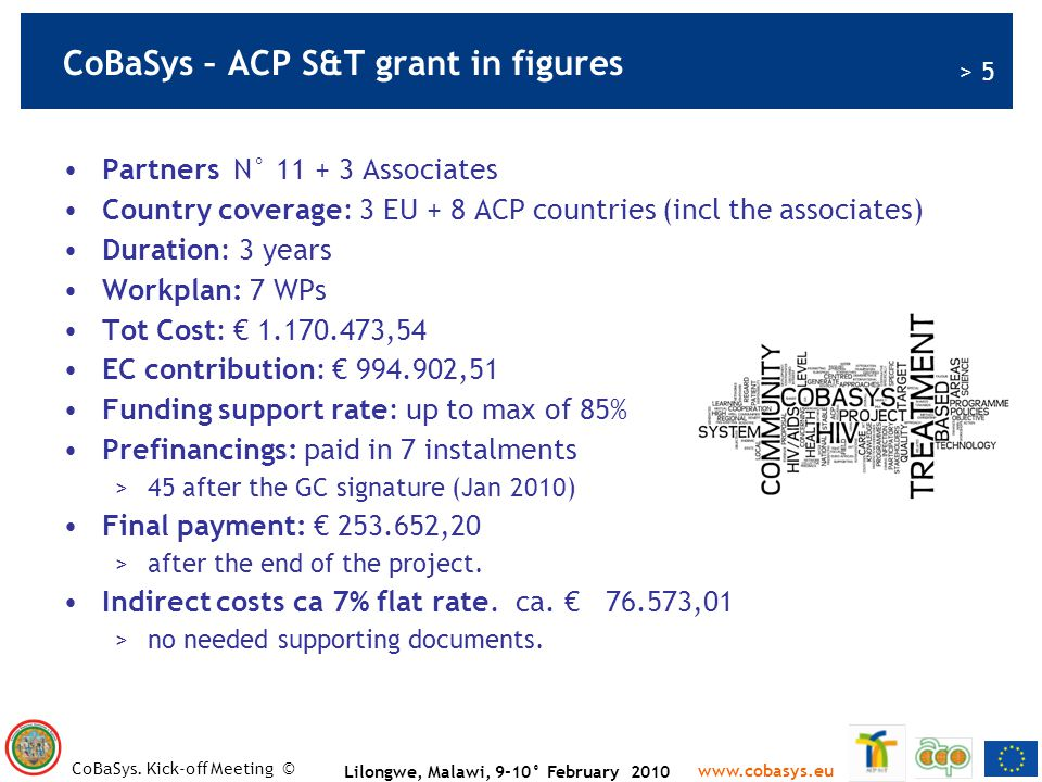 CoBaSys – ACP S&T grant in figures