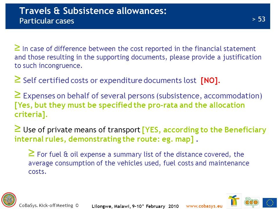 Travels & Subsistence allowances: Particular cases