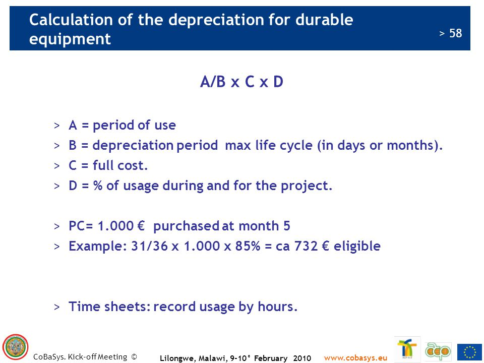 Calculation of the depreciation for durable equipment