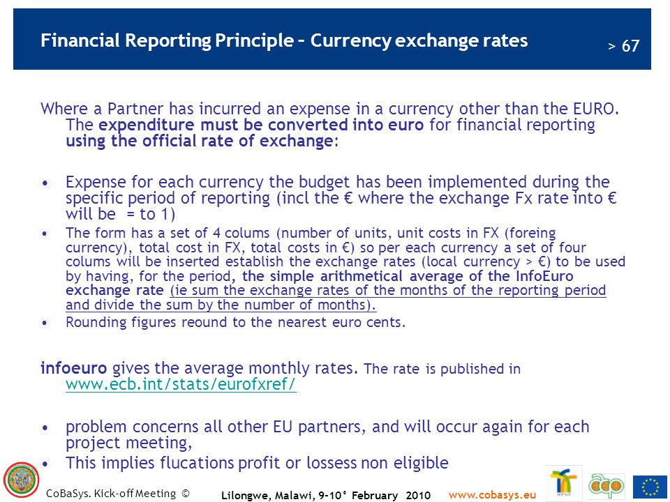 Financial Reporting Principle – Currency exchange rates