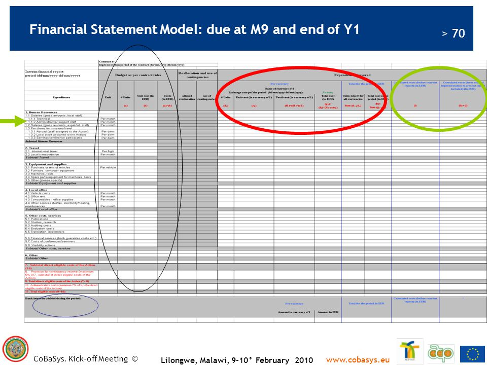 Financial Statement Model: due at M9 and end of Y1