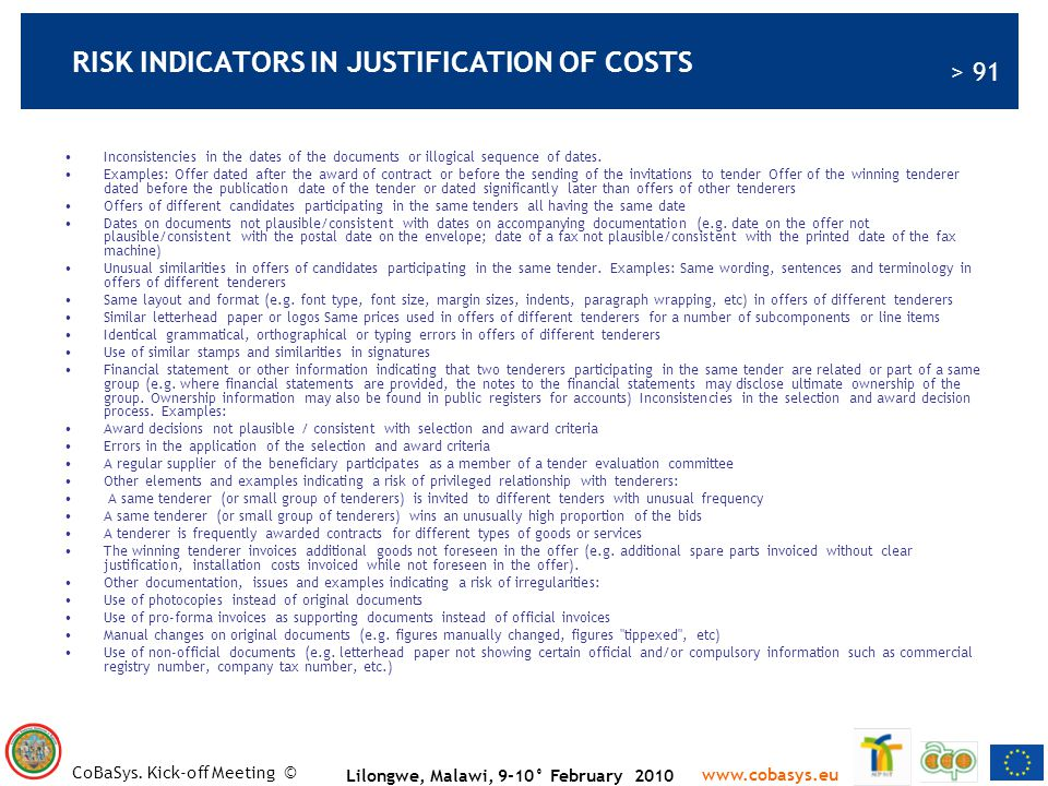 RISK INDICATORS IN JUSTIFICATION OF COSTS