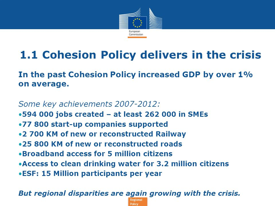 1.1 Cohesion Policy delivers in the crisis