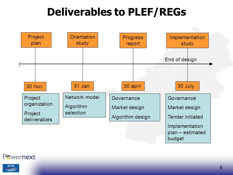 Deliverables to PLEF/REGs