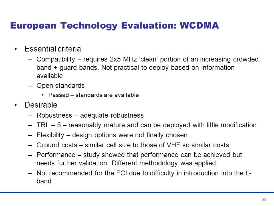 European Technology Evaluation: WCDMA