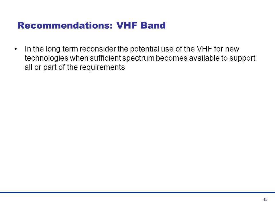 Recommendations: VHF Band