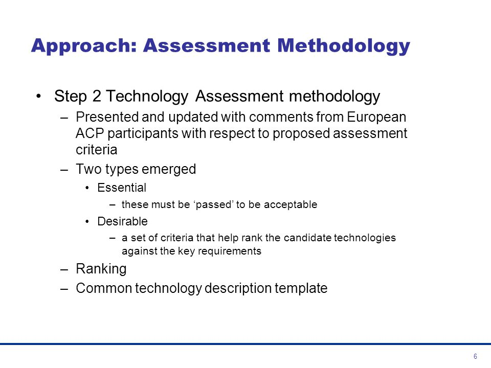 Approach: Assessment Methodology