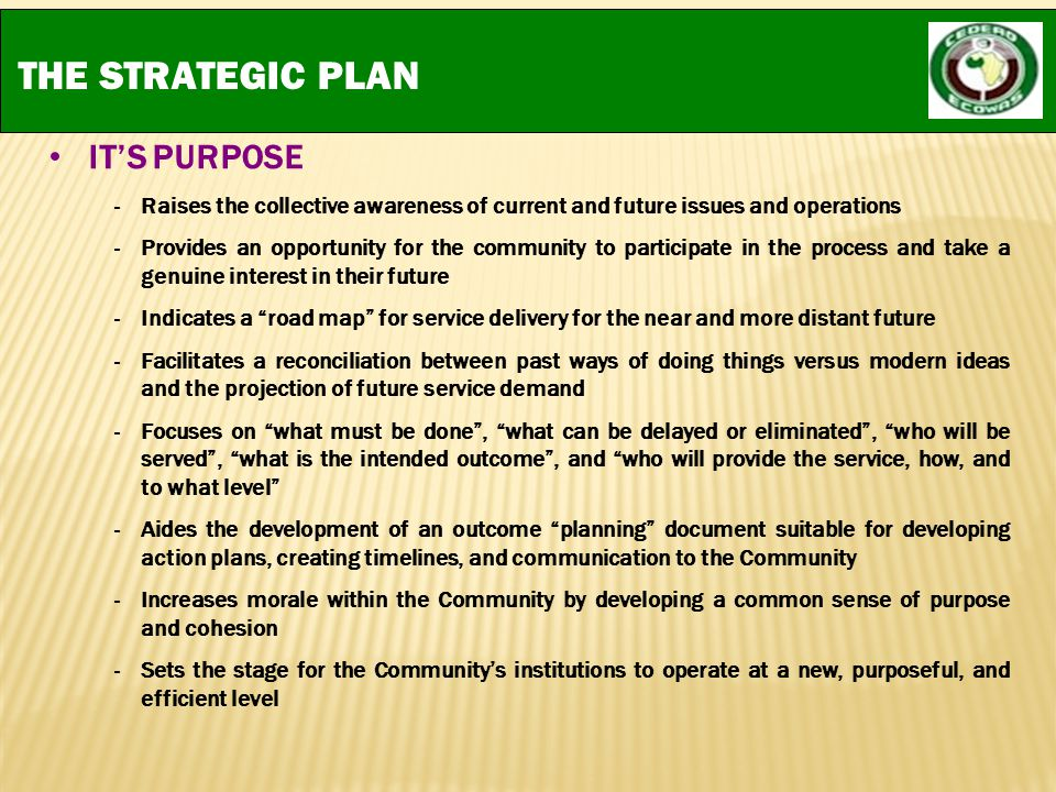 THE STRATEGIC PLAN IT'S PURPOSE