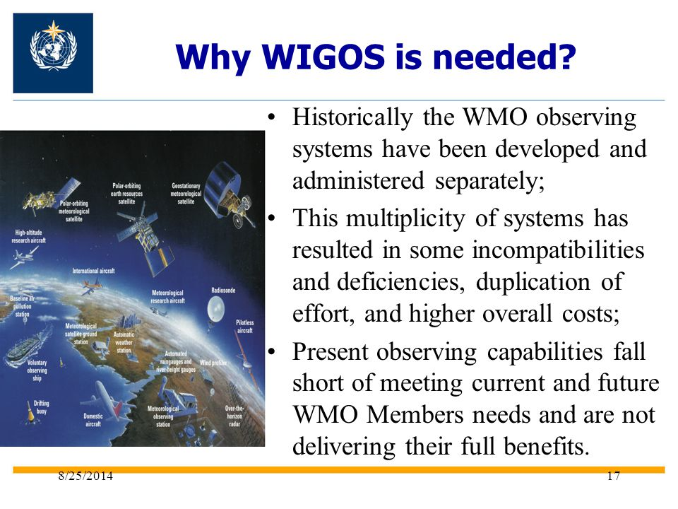 Why WIGOS is needed Historically the WMO observing systems have been developed and administered separately;