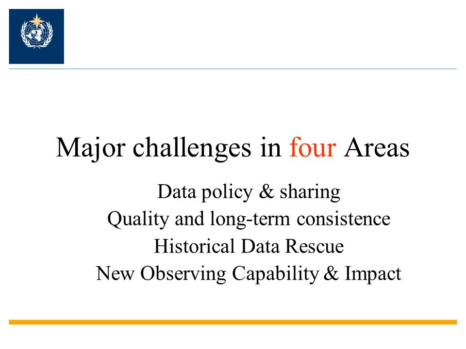 Major challenges in four Areas