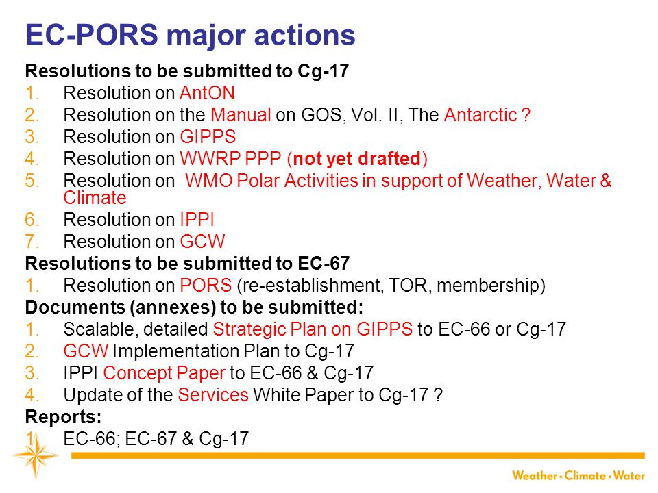 EC-PORS major actions Resolutions to be submitted to Cg-17