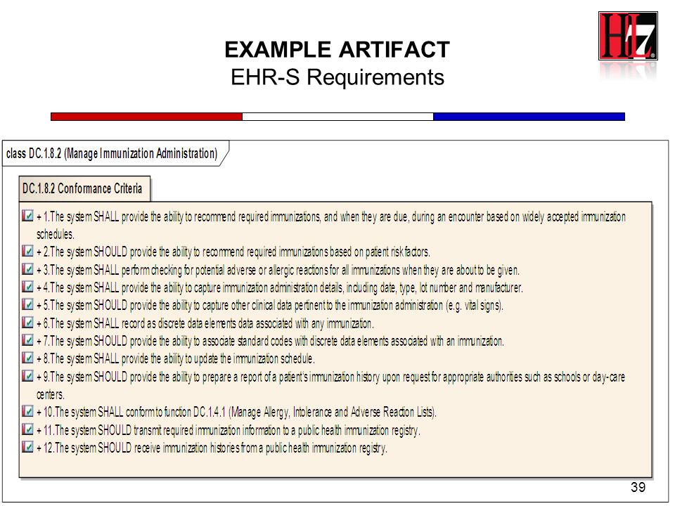 EXAMPLE ARTIFACT EHR-S Requirements