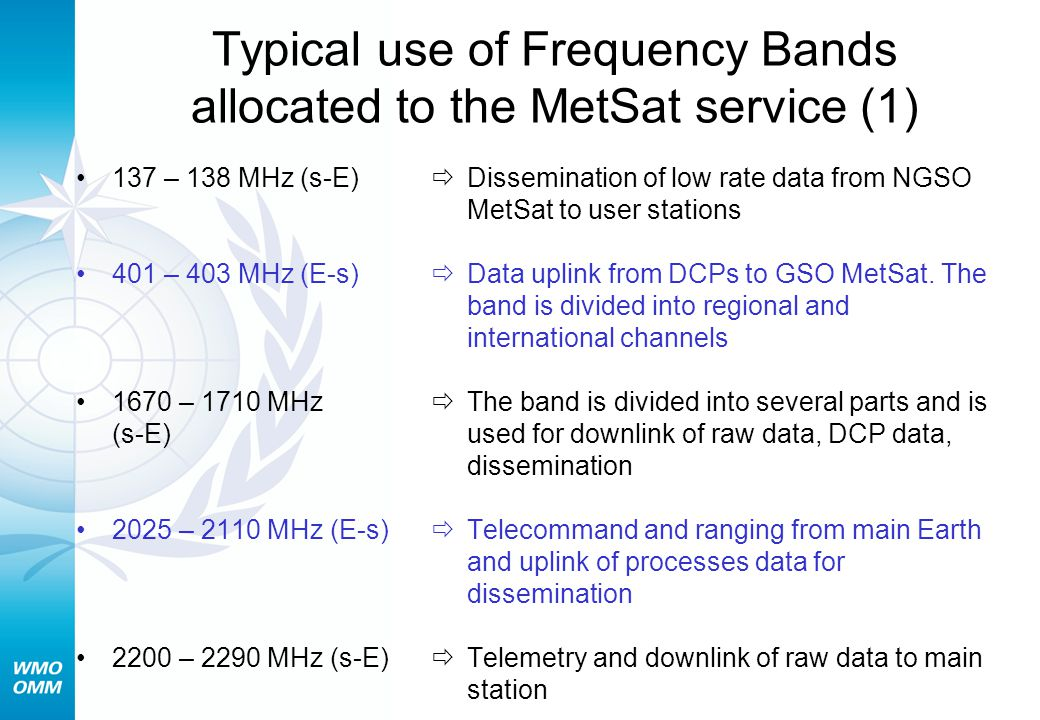 Typical use of Frequency Bands allocated to the MetSat service (1)