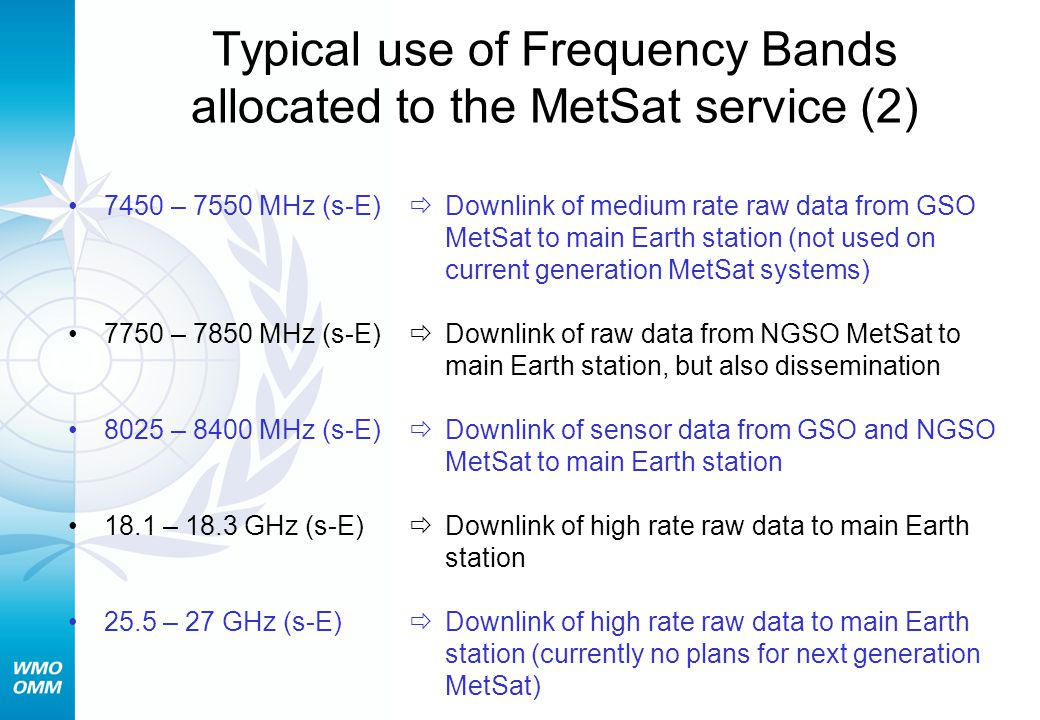 Typical use of Frequency Bands allocated to the MetSat service (2)