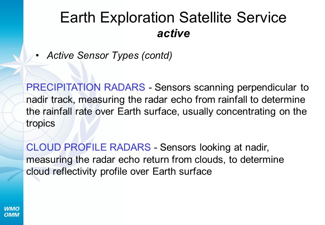 Earth Exploration Satellite Service active