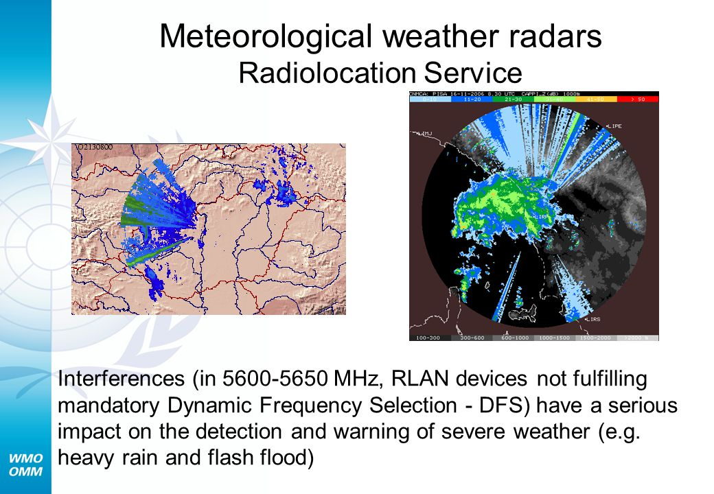 Meteorological weather radars Radiolocation Service