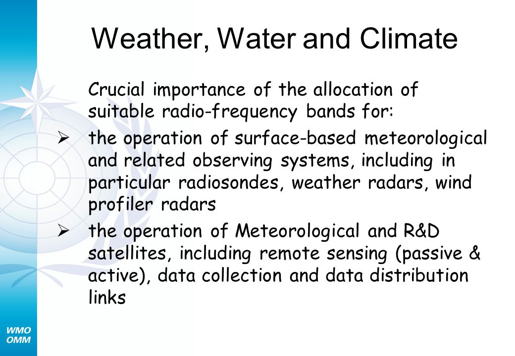 Weather, Water and Climate