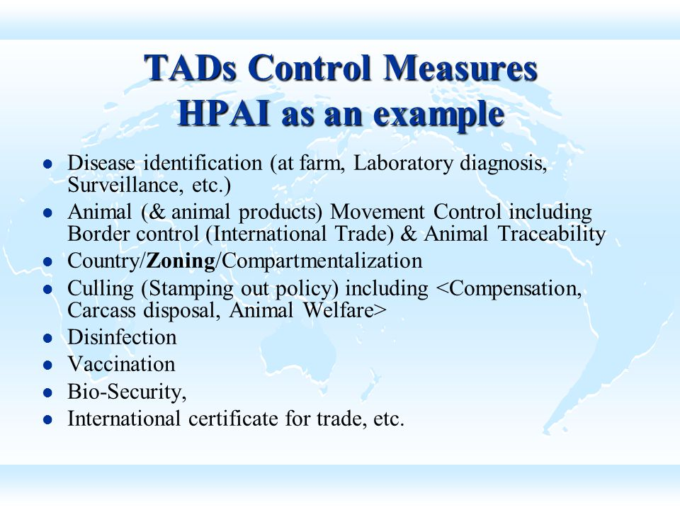 TADs Control Measures HPAI as an example