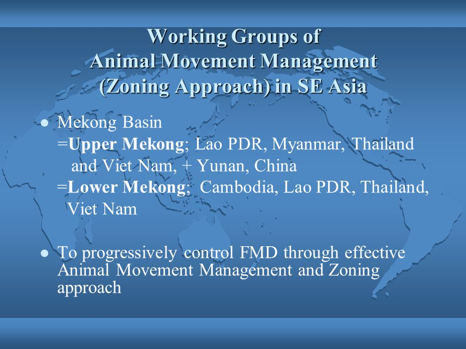 Working Groups of Animal Movement Management (Zoning Approach) in SE Asia