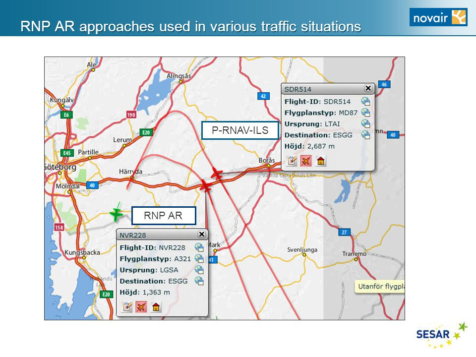 RNP AR approaches used in various traffic situations