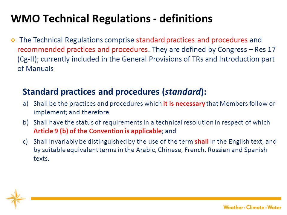WMO Technical Regulations - definitions