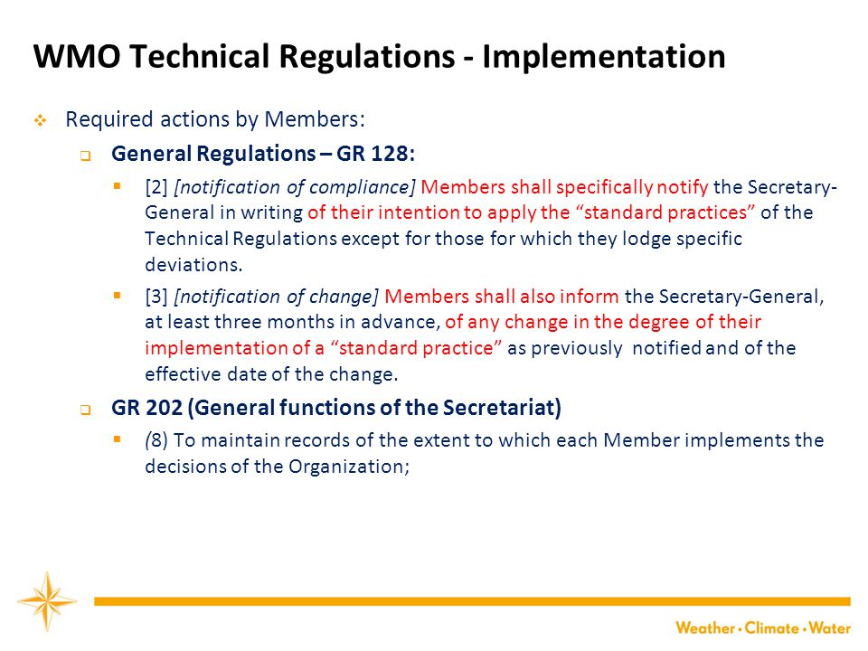 WMO Technical Regulations - Implementation