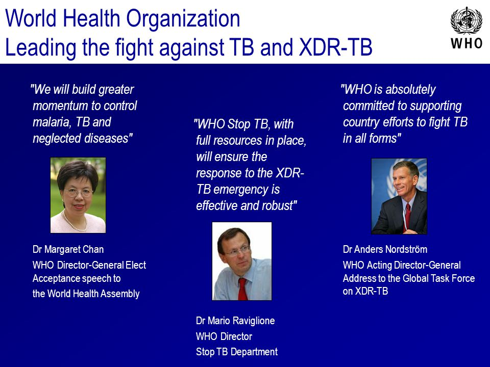 World Health Organization Leading the fight against TB and XDR-TB