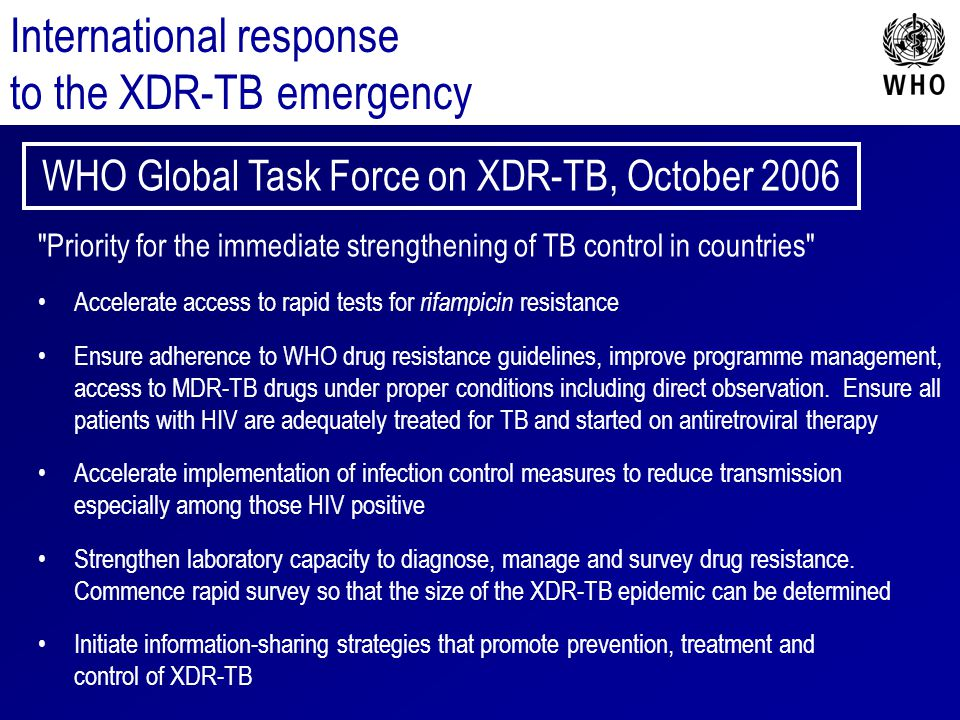 WHO Global Task Force on XDR-TB, October 2006