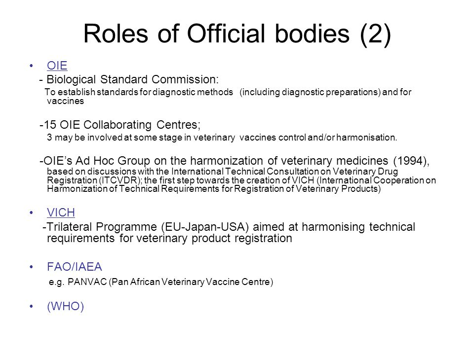 Roles of Official bodies (2)