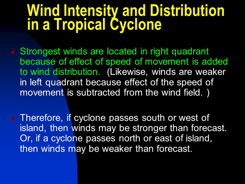 Wind Intensity and Distribution in a Tropical Cyclone
