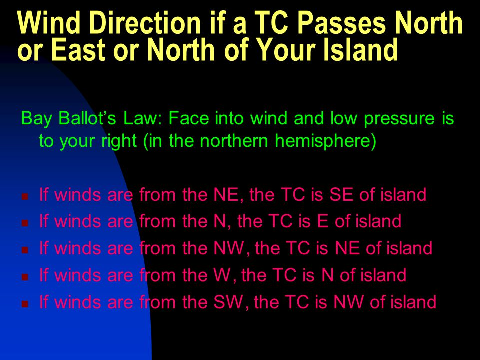 Wind Direction if a TC Passes North or East or North of Your Island