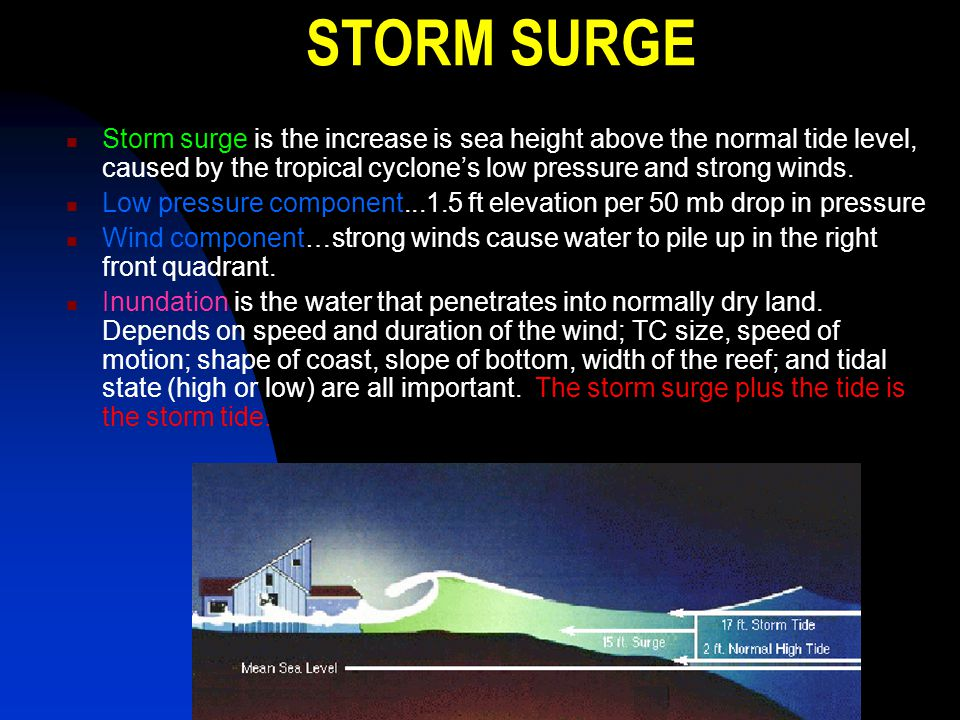 STORM SURGE Storm surge is the increase is sea height above the normal tide level, caused by the tropical cyclone's low pressure and strong winds.