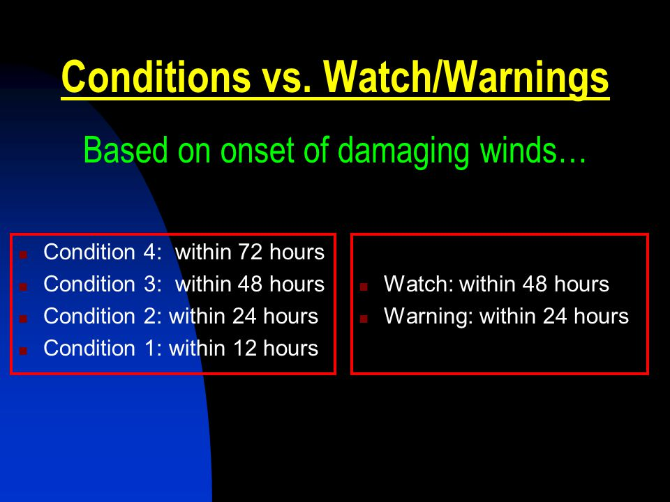 Conditions vs. Watch/Warnings Based on onset of damaging winds…