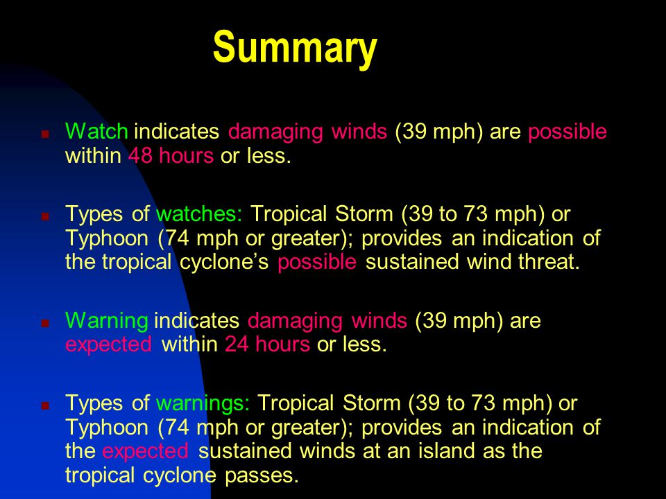 Summary Watch indicates damaging winds (39 mph) are possible within 48 hours or less.
