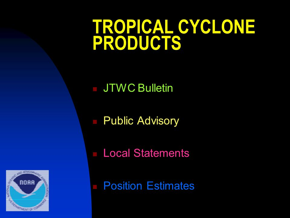TROPICAL CYCLONE PRODUCTS