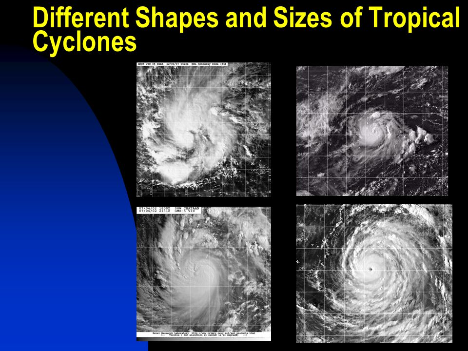 Different Shapes and Sizes of Tropical Cyclones